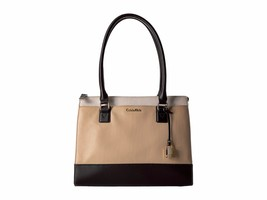 New Calvin Klein Women's Modena Colorblock Leather Tote Neutral Combo - $131.46