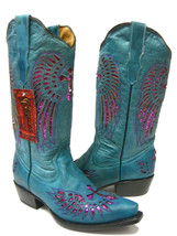 Womens Turquoise Fuchsia Cross Sequins Leather Cowgirl Boots Pointed Toe - €81,58 EUR