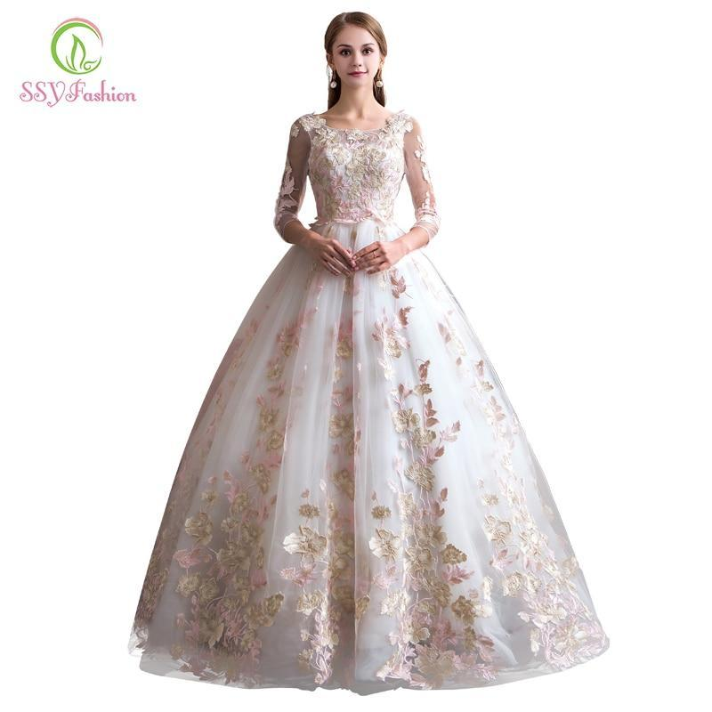 Ssyfashion Long Sleeve Wedding Dresses The Bride Elegant: SSYFashion New Lace Wedding Dress The Bride Elegant