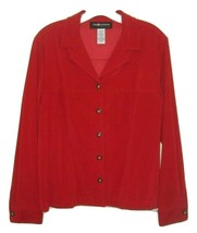 Sag Harbor Red Top Size 12P Long Sleeve Shirt or Jacket Faux Suede EUC - $14.13