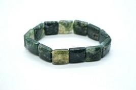 Green Aquamarine Polished Square Bead Stretch Vintage Bracelet One Size - $24.74