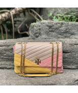 Tory Burch Kira Chevron Mixed Materials Flap Leather Shoulder Bag - $474.00
