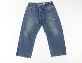 Vintage 90s Levis 569 Uomo 38x28 Larga Dritto Fit Sdrucito Denim Jeans P... - $33.62