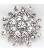 Wedding Bridal Snowflake Rhinestone Crystal Brooch Pin Winter Jewelry - $8.59