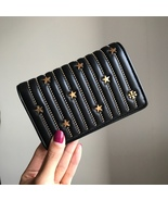 TORY BURCH Star Stud Slim Medium Wallet Womens Leather Card Case Black Auth - $159.00