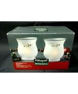 Pfaltzgraff WINTERBERRY Mini Frosted Hurricane set 2 w/ Candle & Holder ... - $24.22