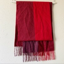 Amicale Women's Red Maroon Colorblock Cashmere Rectangle Fringe Scarf - $24.74