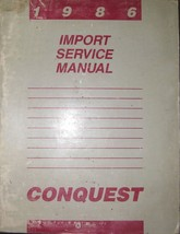 1986 Chrysler Conquest Service Repair Shop Workshop Manual OEM Factory M... - $7.93