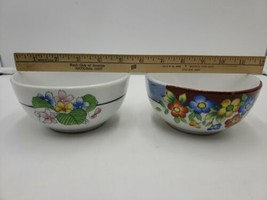 """2 Made In Japan Nippon Bowls Flowers White 5.25""""  - $29.69"""