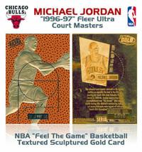 1996 Bulls Michael Jordan Fleer Court Masters Nba 23K Gold Insert Card - $11.02