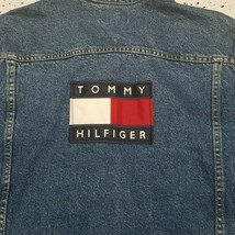 Mens Vintage 90's Tommy Hilfiger Denim Jean Jacket ~ Flag Logo ~ Stonewashed ~XL - $296.99