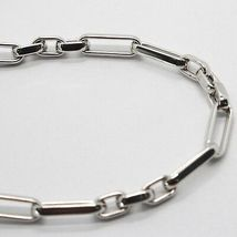 Bracelet or Blanc 18K 750, Tubes et Ovales Alterné, Plaque avec Zirconia image 4