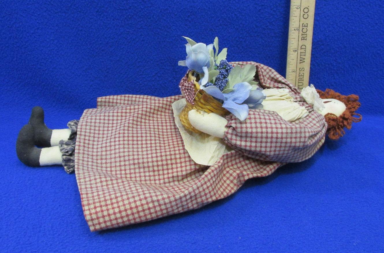 Vintage Handmade Girl Rag Doll Folk Art Primitive with Wood Chair Lot Of 2