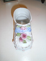 White Porcelain Baby Shoe Bootie Planter-Gold Trim Roses & Leaves Napco?... - $11.12