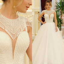 Long Full Ivory Wedding Dress with Handmade Pearls Embroidery top  - $912.72
