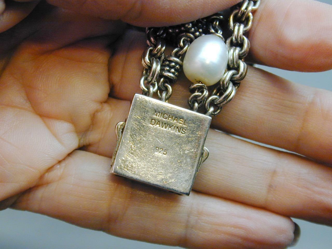 Michael Dawkins 4 Strand 925 Granulation Bead Gray White FW Pearl Bracelet image 2