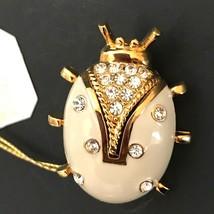 Vintage St John Brooch Pin Lady Bug Signed Enamel Rhinestones Gold Tone ... - $139.00