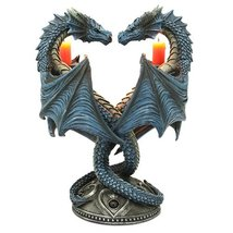 Altar Drake Double Dragon Candle Holder Stand Sculptural Home Decor 9 In... - $41.57