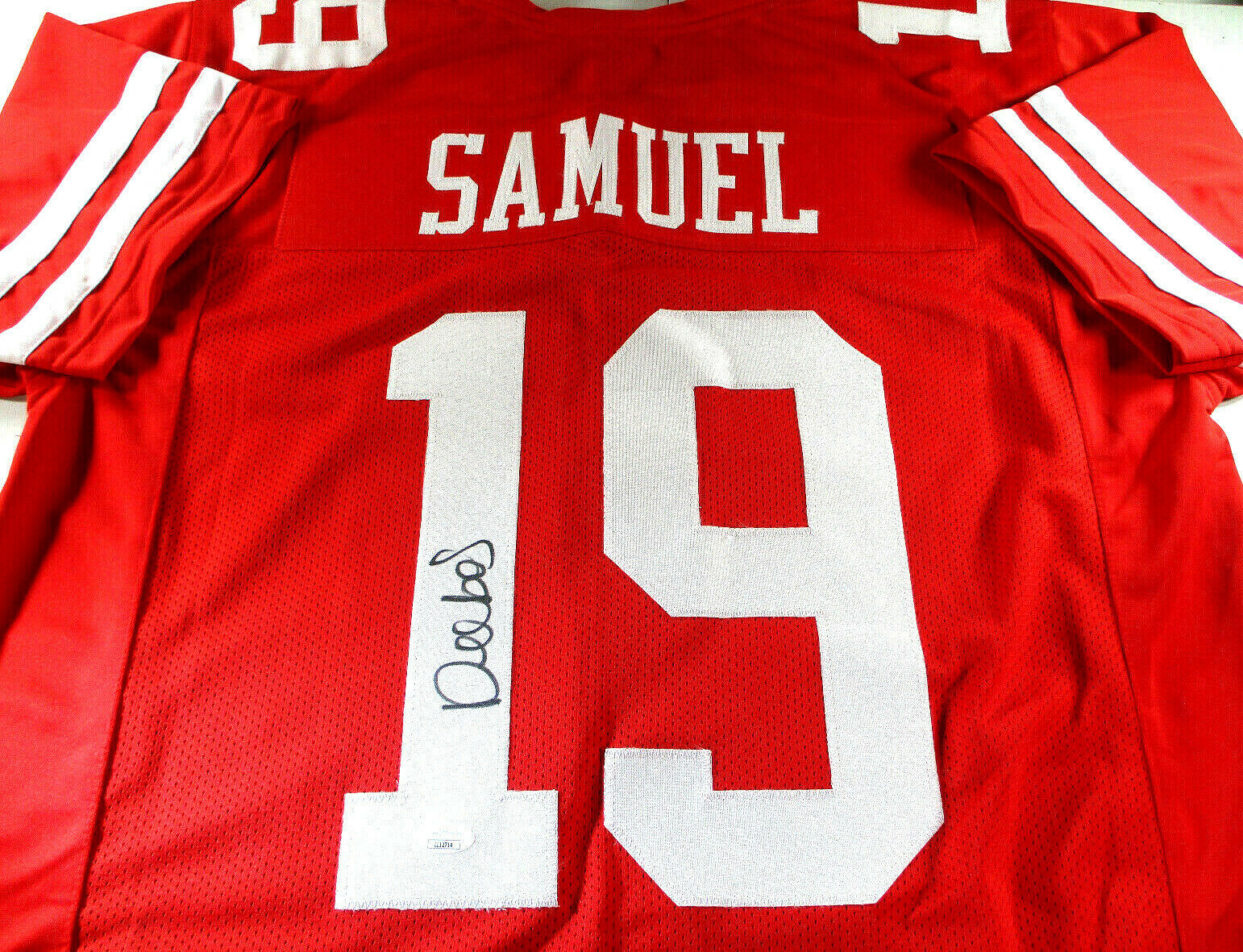 DEEBO SAMUEL / AUTOGRAPHED SAN FRANCISCO 49ERS RED CUSTOM FOOTBALL JERSEY / JSA