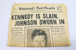 ORIGINAL Vintage Nov 23 1963 Death of JFK Pittsburgh Post Gazette Newspa... - $59.39