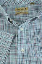 Roundtree Mens SS White Navy Tan Plaid Easy Care Shirt L NWT