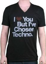 I Love You But ' Ve Chosen Techno Nero da Uomo T-shirt Con Scollo A V Taglia:XL image 1