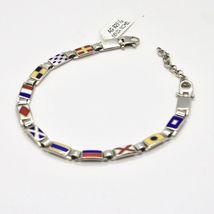 Bracelet Silver 925, Flags Nautical Glazed Tiles, Long 18 cm, Thickness 5 MM image 5
