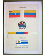 FLAGS VENEZUELA Uruguay Coat of Arms Naval Marine - 1899 Color Antique P... - $9.79