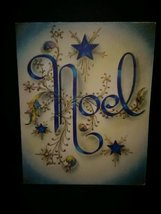 Text Noel & Stars in Blue Vintage Christmas Card - $4.00