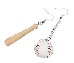 Set of 2 Sports Style Funny Earrings Stylish Individuality Earrings, Bat - €10,90 EUR