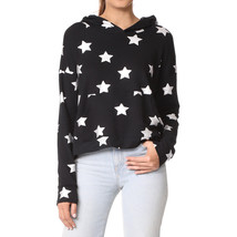 Terez Women Black/Silver French Terry Cross Over Back Hoodie, Foil Silver Stars