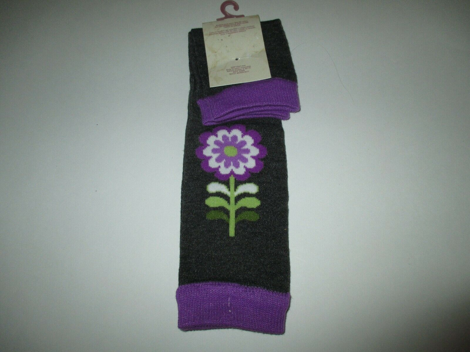 New Girls One Size Baby Route 66 Leg Warmers  - Purple Gray Flower