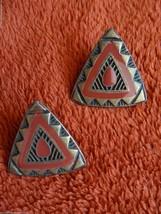 Vintage 1980's Southwestern Triangle Post Earrings Disc Back Copper Tone - $9.40