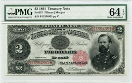 FR. 357 1891 $2 Treasury Note PMG Choice Unc 64 EPQ - Treasury Notes - $3,346.50