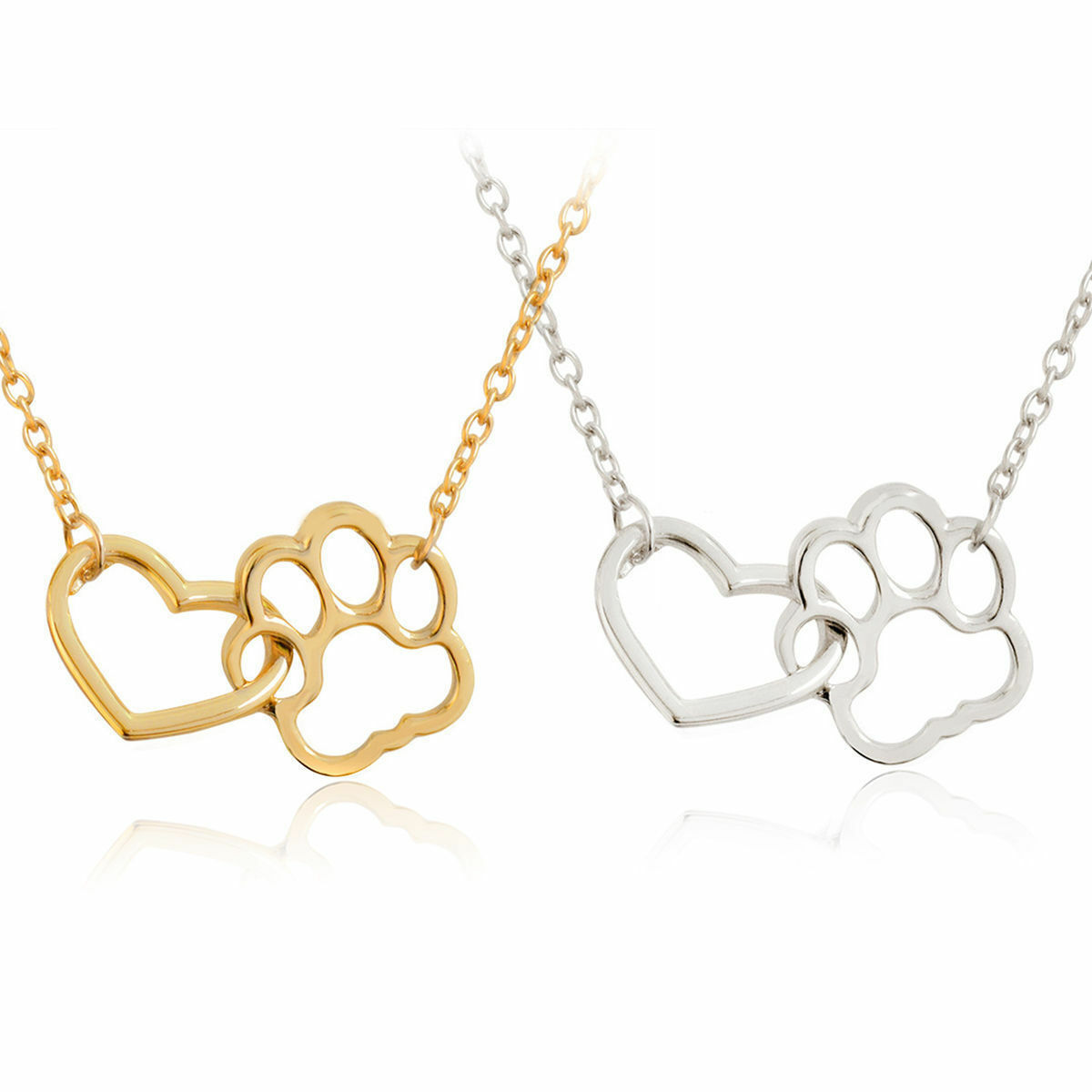 USA Women Fashion Pet Lover Dog Cat Paw Print Pendant Heart Necklace Chain Gift