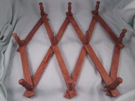 Accordion Folding Wood Hat Coat Mug Rack 10 Peg Expandable Collapsible H... - $14.80