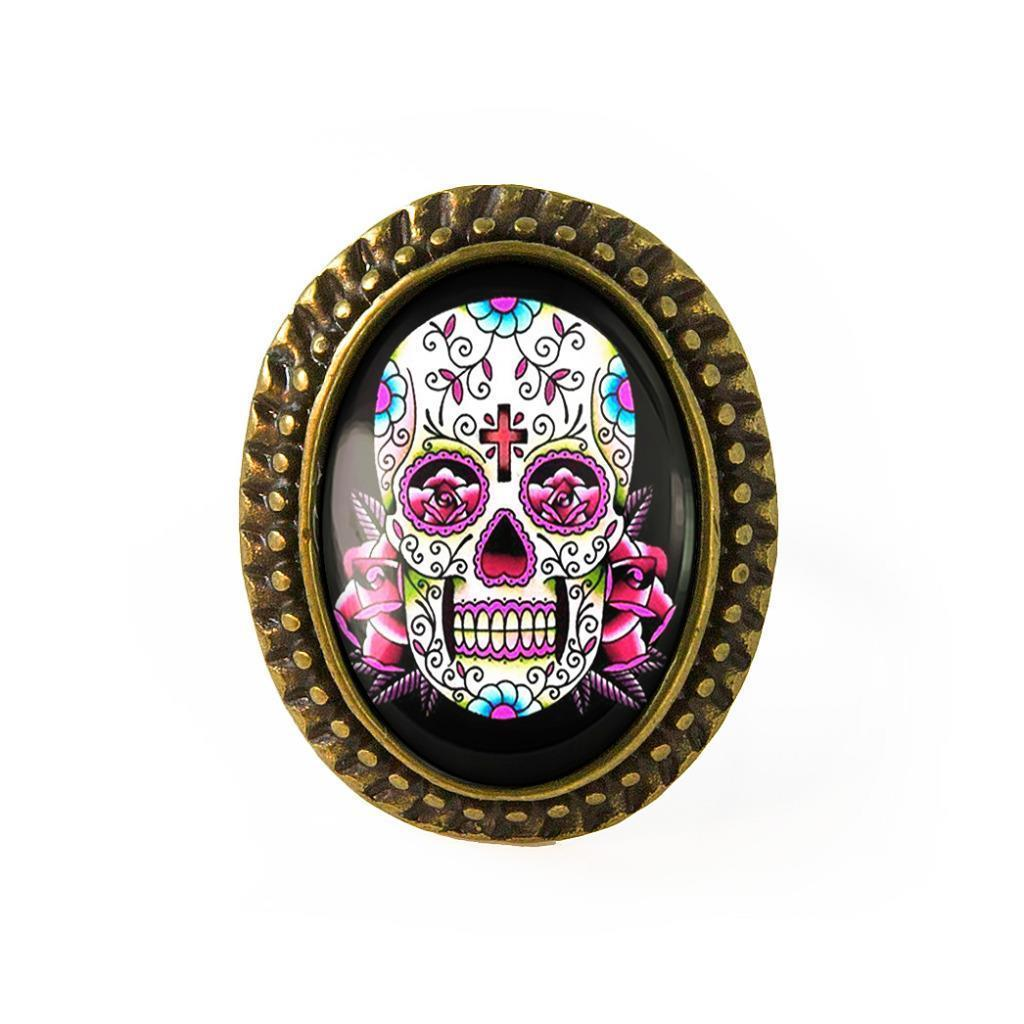 Pink Day of the Dead Sugar Skull Antique Bronze Glass Dia De Los Muertos Ring