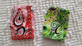 2 BARBIE SIZE DESIGNER PAISLEY WRAP SKIRTS,LABEL REMOVED,RED,GREEN,COTTO... - $6.81