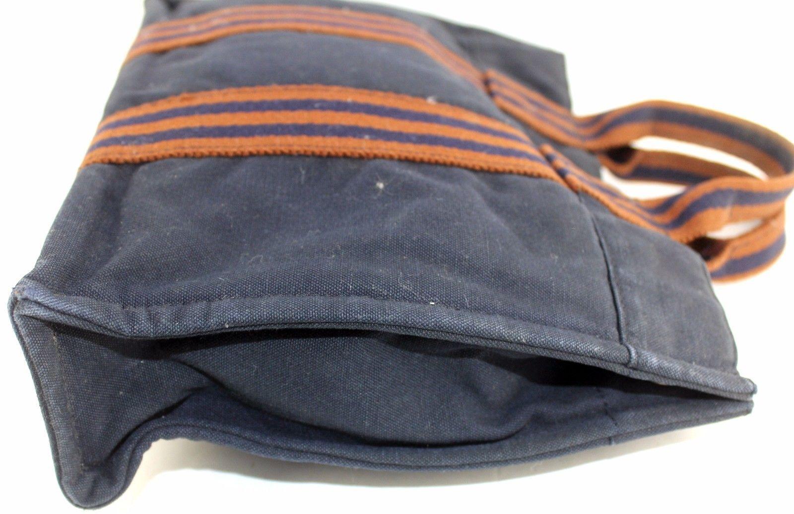 4545c09b6 100%Auth HERMES Paris Fourre Tout MM Navy Canvas 100%Cotton Tote Small  Handbag