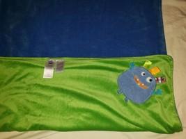 Taggies baby boy blue green monster alien plush fleece blanket 30X40 - $59.39