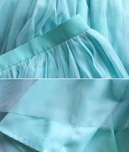 Blue Tulle Maxi Skirt Full Length Tulle Skirt Blue Themed Wedding Skirt Outfit image 7