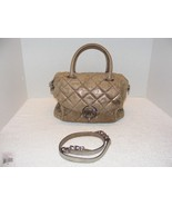 MICHAEL KORS FULTON QUILT GOLD & BEIGE DISTRESSED LEATHER CROSSBODY HAND... - $199.99