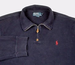 Polo Ralph Lauren Men's Blue 1/4 Zip Long Sleeve Pullover Red Pony Sz XL... - $29.99