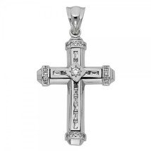 14K White Gold Cubic Zirconia Cross Pendant - $369.99