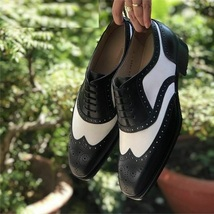 Handmade Men Black & White Leather Laceup Shoes image 6