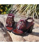 BURBERRY Beverley Sandals Burgundy Leather Eyelet & Kiltie Block Heel 36... - $183.60