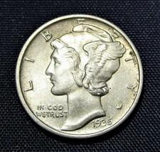 1935 Mercury Dime CH UNC Near FB Original Skin AC721 - $20.25