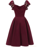 A Line Burgundy Cpaed Sleeve Short Homecoming Dresses, Women Party Gowns... - $33.88