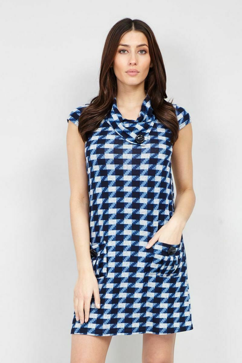 Primary image for STELLA MORGAN CAP SLEEVE BLUE CHECKED DOGTOOTH PRINT MIDI TUNIC DRESS 14