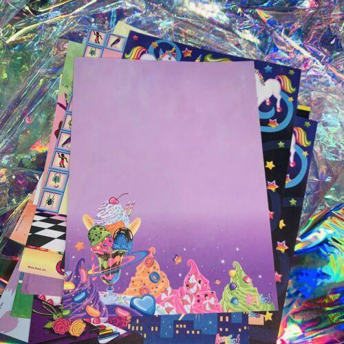 2 SHEETS Vintage Lisa Frank Galactic Sundae Ice Cream Outer Space Moon Radical